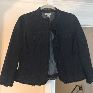 Loft Jean jacket with a ruffle down the front